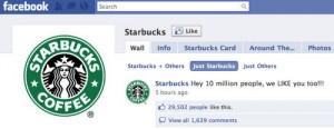 Starbucks, la primera marca en alcanzar los 10 millones de fans en Facebook