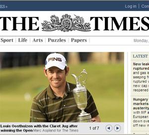 Las visitas al diario The Times han caído dos tercios tras hacerse de pago