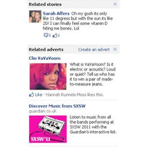 Facebook prueba un formato de anuncios basados en los estados y los comentarios en el muro