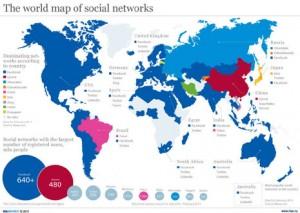 El mapamundi de las redes sociales en 2011
