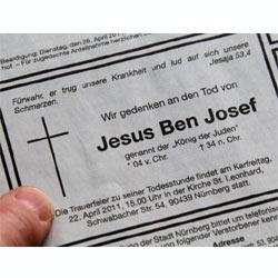 La muerte de Jesucristo se anuncia en forma de esquela en dos periódicos alemanes