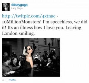 Lady Gaga corona Twitter: primera persona en conseguir 10 millones de seguidores