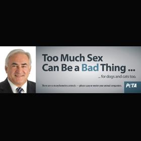 La última campaña de PETA utiliza la imagen de Dominique Strauss-Kahn para promover la castración de animales