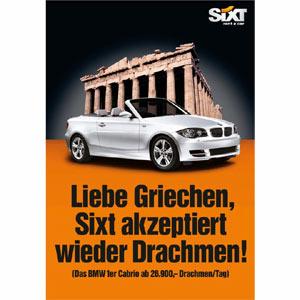 Sixt se mofa de la crisis griega en una nueva campaña publicitaria