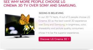 LG apuesta por la publicidad comparativa en su última campaña de televisores 3D
