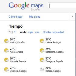 Google Maps ahora permite consultar el tiempo