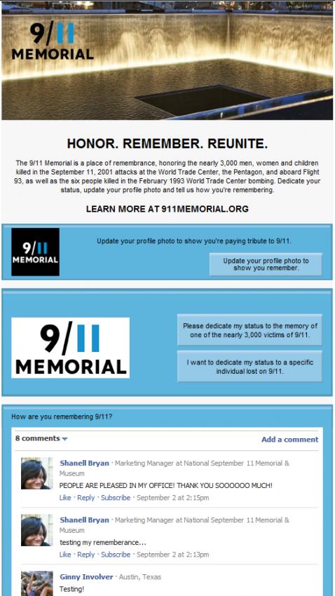 Facebook lanza una aplicación para conmemorar el 11-S