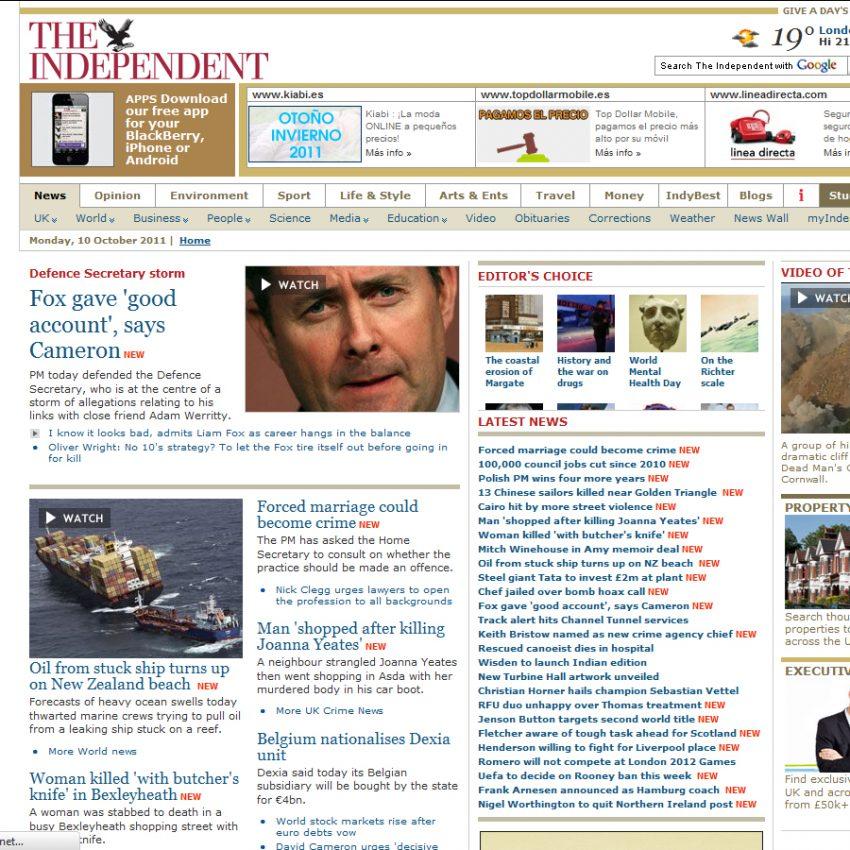 The Independent cobrará por su edición online a los lectores no residentes en Reino Unido