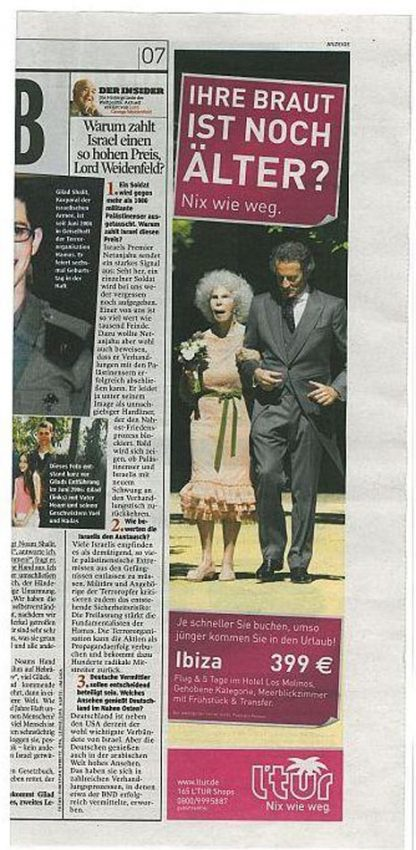 Un anuncio protagonizado por la Duquesa de Alba abre la caja de los truenos en Alemania