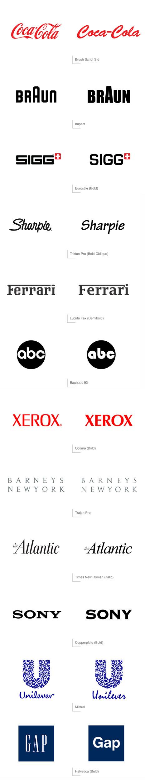 Si los logos de 12 grandes marcas utilizaran tipografías estándar...