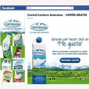 Facebook acoge su primera campaña de vales descuento para gran consumo, lanzada por Central Lechera Asturiana y Valassis