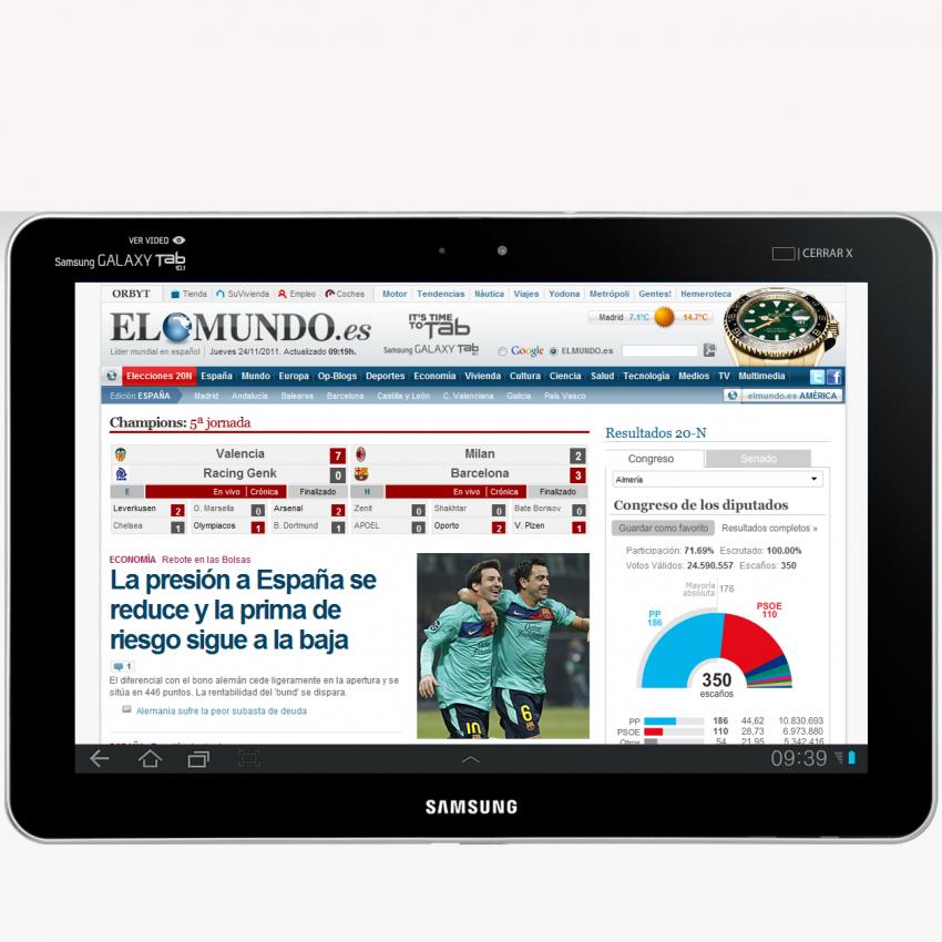 Branded content en la prensa online: elmundo.es se convierte en la tableta de Samsung
