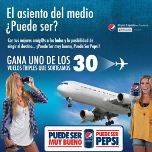 Pepsi lanza una aplicación en Facebook para invitarnos a volar en el asiento del medio
