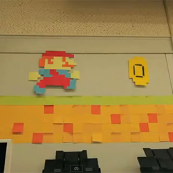 Super Mario, el héroe de Nintendo, cobra vida en el mundo real gracias a 7.000 Post-Its