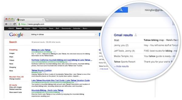 Google planea incluir resultados de Gmail en las búsquedas online