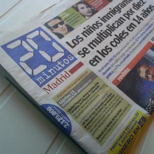 Los ingresos del periódico gratuito '20minutos' caen un 34% tras perder casi la mitad de la publicidad en papel