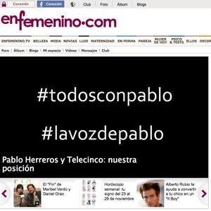 enfemenino.com retira su apoyo a Telecinco hasta que no retire la denuncia a Pablo Herreros