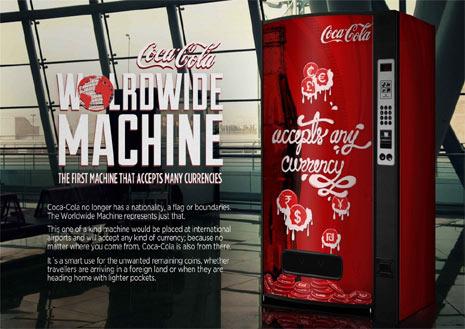 ¿Y si las máquinas expendedoras de Coca-Cola aceptaran monedas de todos los rincones del planeta?