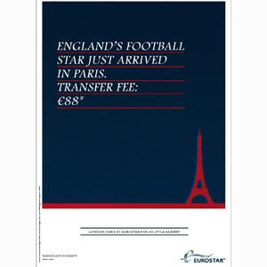 Eurostar aprovecha la llegada de David Beckham a Paris para lanzar una oferta de precio ida/vuelta muy suculenta