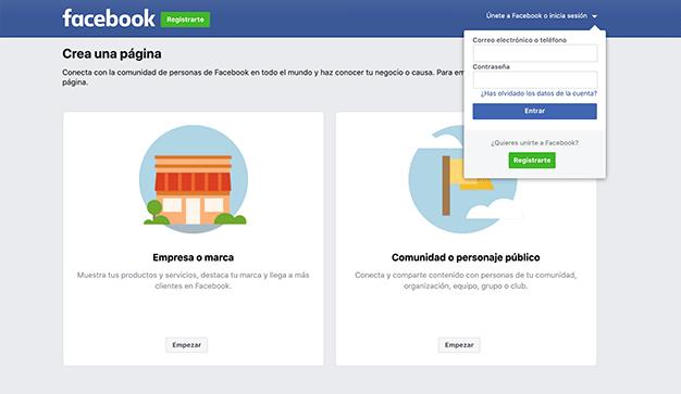 pantalla de inicio sesión facebook negocio