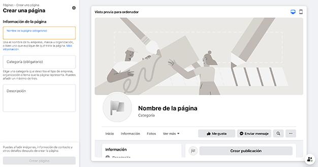 pantalla creación pagina facebook negocio