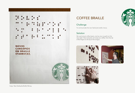 Starbucks estrena un nuevo menú en braille ¡hecho con granos de café!