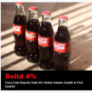 Coca-Cola sigue creciendo, un 3% en América y un 5% a nivel global