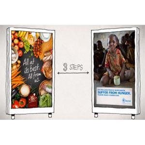 ¿Quiere acabar con el hambre en el mundo? Haga una transferencia de alimentos entre vallas publicitarias