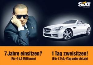 Sixt hace sangre en un anuncio de la condena a siete años de cárcel de Berlusconi