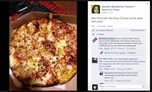 Domino's confunde un halago con una queja en Facebook y responde con un