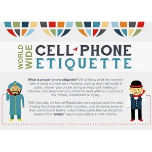 Descubra las diferentes normas de etiqueta para utilizar el móvil alrededor del mundo en una infografía