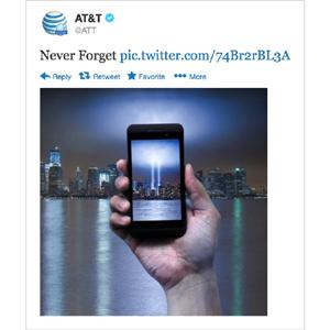 AT&T se disculpa por mostar un móvil en su tuit de homenaje al 11-S