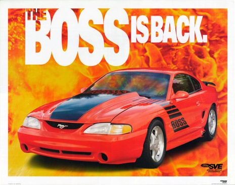 1995 Ford Mustang 'Boss Is Back' poster art