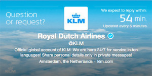 ¿Tiene una pregunta para KLM? Su perfil en Twitter le dice en tiempo real cuándo le llegará la respuesta