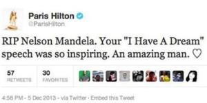 ¿Martin Luther King o Morgan Freeman? Paris Hilton y el futbolista Javi Jiménez confunden a Nelson Mandela a través de Twitter