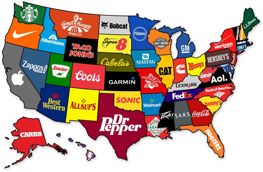 A cada marca su estado le presentamos el mapa de Estados Unidos