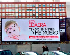 Exterion Media cede su espacio publicitario y los costes de la campaña a la causa de Idaira y su rara enfermedad