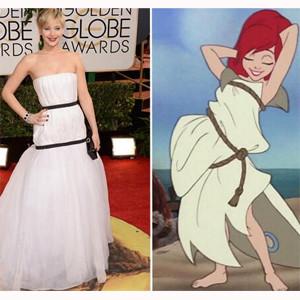 Jennifer Lawrence acapara las redes sociales por su vestido y su broma a Taylor Swift en los Globos de Oro