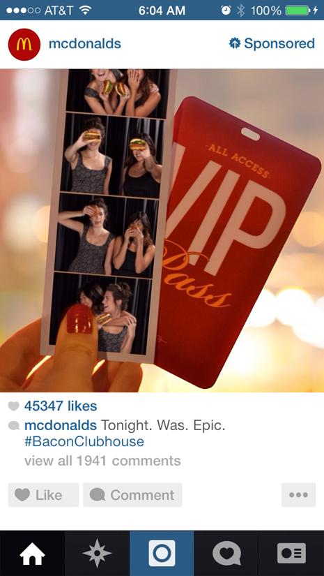 anuncio promocionado de mcdonalds en instagram