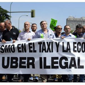 Los taxistas se manifiestan en Madrid contra Uber
