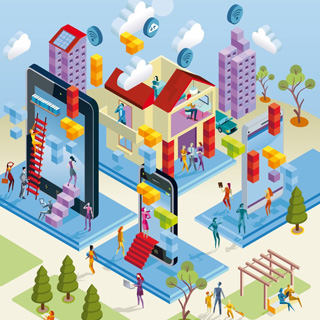 Wireless City in Isometric View