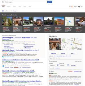 Bing añade un botón para pedir comida y reservar hoteles directamente desde los resultados de búsqueda