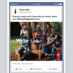 coca cola facebook emergente publicidad