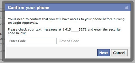 facebook phone verification