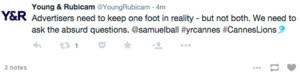 ¿Se les derriten las ideas a las agencias en Cannes Lions? A juzgar por sus tuits, parece que sí
