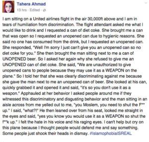 United Airlines, en la picota por negar un refresco a una mujer musulmana