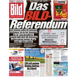 """El tabloide alemán """"Bild"""" le da una vuelta de tuerca germana al referéndum de Grecia"""