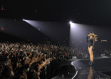 "Singer Beyonce performs on her ""Mrs. Carter Show World Tour 2013"", on Monday, April 22, 2013 at the Ziggo Dome in Amsterdam, Netherlands. Beyonce is wearing a custom hand beaded one-piece by Givenchey. (Photo by Frank Micelotta/Invision for Parkwood Entertainment/AP Images."