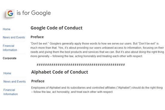 google codigo conducta
