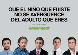 Los candidatos del 20D vuelven a su más tierna infancia en la última campaña de Greenpeace